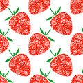 Seamless fruits vector pattern bright chaotic background with closeup decorative ornamental strawberries on the white backdrop Stock Photo