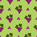 Seamless fruits vector pattern, bright color background with grapes and leaves, over green backdrop Royalty Free Stock Photo