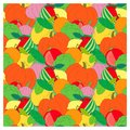 Seamless fruits and vegetable background. Bright watermelon, cucumber, apple, tomato, lemon, onion, pumpkin, orange
