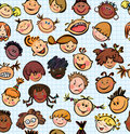 Seamless  of fun kids different races  Stock Photo