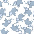 Seamless funny cartoon elephant pattern from character with smile and raised trunk over white background hand drawn in front view Stock Images