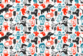 Seamless funny doodles pattern Royalty Free Stock Photo