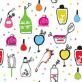 Seamless funny pattern with cosmetics Stock Image