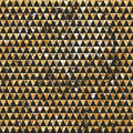Seamless geometric abstract background.Gold triangles.Ethnic pattern in zentangle style