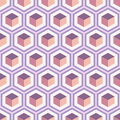 Seamless geometric abstract pattern of colorful hexagons.