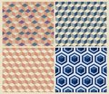 Seamless geometric cube background set patterns Stock Photos