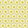 Seamless geometric floral background pattern yellow white