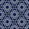 Seamless geometric flower pattern design navy blue color