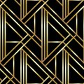 Seamless geometric golden Art Deco pattern. Vector fashion backdrop in vintage style. Royalty Free Stock Photo