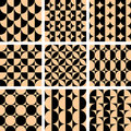 Seamless geometric op art designs. Royalty Free Stock Photo