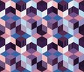 Seamless geometric patchwork pattern. Quilt. Abstract flowers and cubes Royalty Free Stock Photo