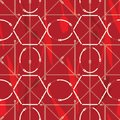 Seamless geometric pattern with belts, tulips and buckles. Complex vector print in red, burgundy coral and cream.