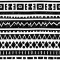 Seamless geometric pattern. Black and white vector illustration.