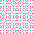 Seamless geometric pattern with bright pink and blue dots and circles. Royalty Free Stock Photo