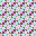 Seamless geometric pattern with colored triangles and squares on light blue background.