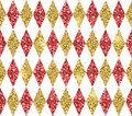 Seamless geometric pattern of golden, red and white rhombuses.