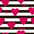 Seamless geometric pattern with hearts vector texture background
