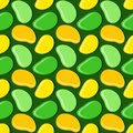 Seamless geometric pattern, mango in flat style on dark green background, stripes abstract template, vector illustration Royalty Free Stock Photo