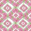 Seamless geometric pattern with peony