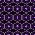 Seamless geometric pattern, purple hexagon with a star on a black background