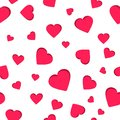 Seamless geometric pattern, red heart valentine`s day on white background, stripes abstract template, vector illustration Royalty Free Stock Photo