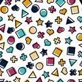 Seamless geometric pattern with squares, triangles, circles, stars, crosses and hearts for tissue and postcards.