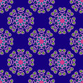 Seamless geometric pattern, unusual flowers on a blue background