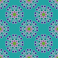 Seamless geometric pattern, unusual flowers on turquoise background