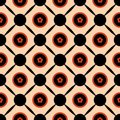 Seamless geometric pattern vector abstract background design of circles with orange spring summer flowers in them connected with b Royalty Free Stock Photo