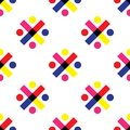 Seamless geometric pattern vector background colorful abstract design art with circles round dots and crosses made of rectangles a