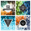 Seamless geometric pattern vintage hipster label with positive life quote on retro background with patterns Stock Images