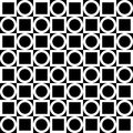 Seamless geometric pattern. White circles and squares on a black background. Vector.