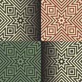 Seamless geometric patterns in the retro colors vector illustration Royalty Free Stock Images