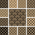 Seamless geometric patterns set. Stock Images
