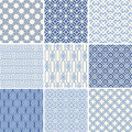 Seamless geometric patterns set oriental in blue Royalty Free Stock Photo