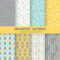 8 Seamless Geometric Patterns Royalty Free Stock Photo