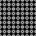 Decorative Seamless Floral Geometric Black & White Pattern Background. Complicated, material. Royalty Free Stock Photo