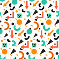 Seamless geometric vintage pattern in retro s style memphis for fabric design paper print and website backdrop vector illustration Royalty Free Stock Image