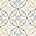 Seamless geometric vintage pattern. Vector black and gold circle retro texture.