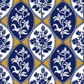 Seamless geometrical damask pattern with Victorian motifs.
