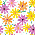 Seamless gerbera flowers pattern Royalty Free Stock Image