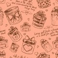 Seamless gift present boxes pattern background vector illustration Stock Images