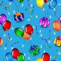 Seamless gifts and balloons pattern over blue Royalty Free Stock Photos