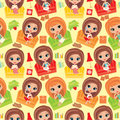 Seamless girls pattern.