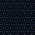 Seamless glam black quilted background with diamond pins and skulls print Royalty Free Stock Photo