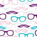 Seamless glasses and mustache pattern Stock Images