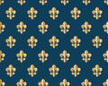 Seamless gold pattern with fleur-de-lys on a dark blue background. Vector Illustration. Royalty Free Stock Photo