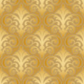 Seamless gold silk wallpaper pattern floral abstract background Stock Image