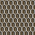 Seamless gold white and black simple art deco wave scales pattern Royalty Free Stock Photo
