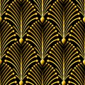 Seamless golden Art Deco pattern with abstract shells. Vector fashion backdrop in vintage style. Royalty Free Stock Photo